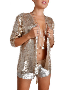 Loose Fit Gold Sequin Shorts