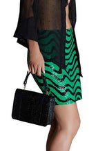 Black & Green Sequin Mini Skirt