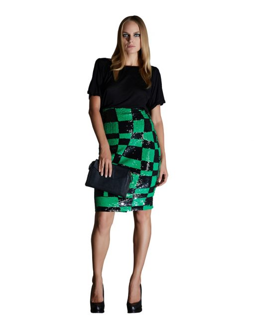 Black & Green Square-Shaped Sequin Pencil Skirt