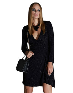 Black Long Sleeve Sequin Wrap Dress