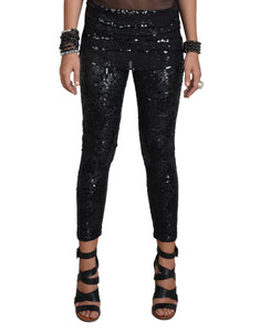 Black Mixed Sequin Leggings