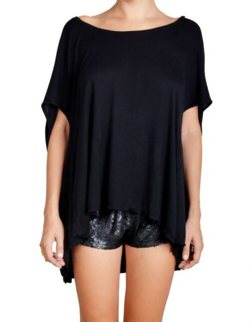 Black Oversized Peacock Top
