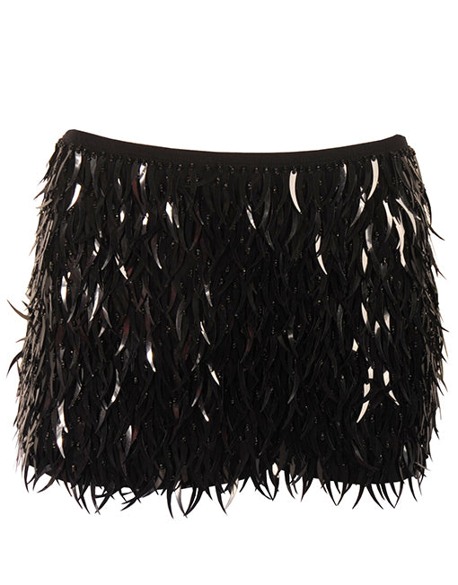 Black Sequin Fringe Mini Skirt