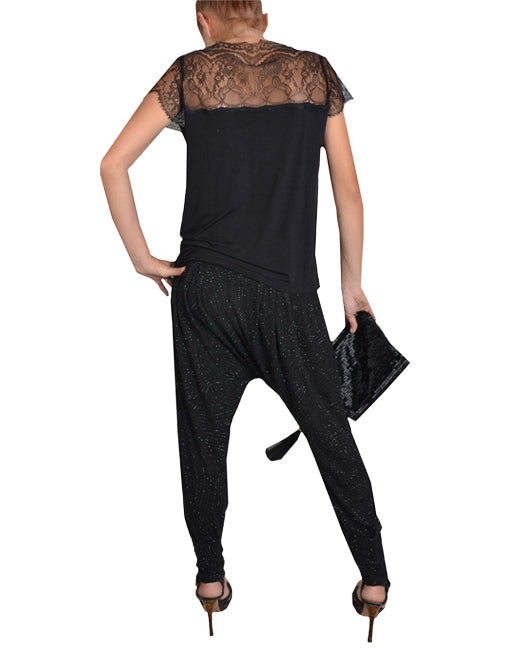 Black Sequin Harem Pants