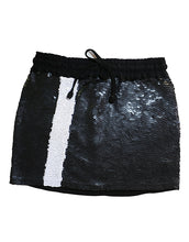 Black Sequin Mini Skirt With A White Stripe