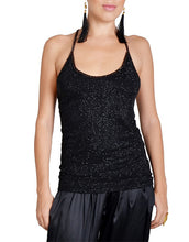 Black Sequin Racerback Top