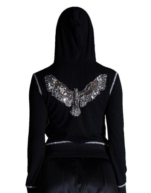 Black Sequined Eagle Hooded Jacket