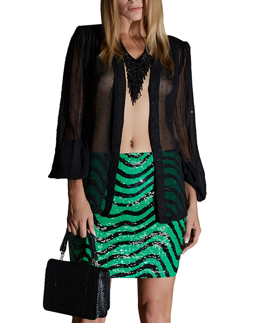 Black Sequined Silk Blouse
