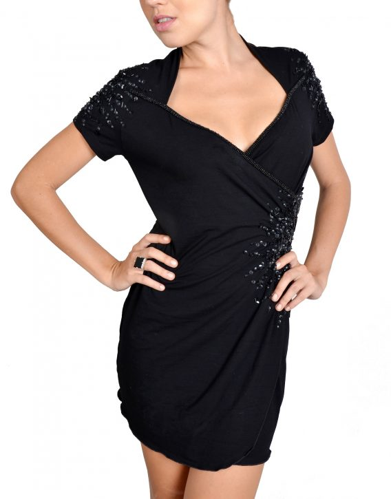 Black Short Sleeved Sequin Detail Wrap Dress