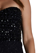 Black Strapless Sequin Tube Dress