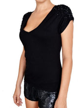 Black V-Neck Sequin T-Shirt