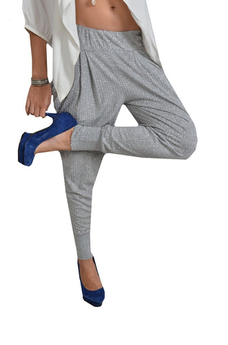 Light Grey Sequin Harem Pants