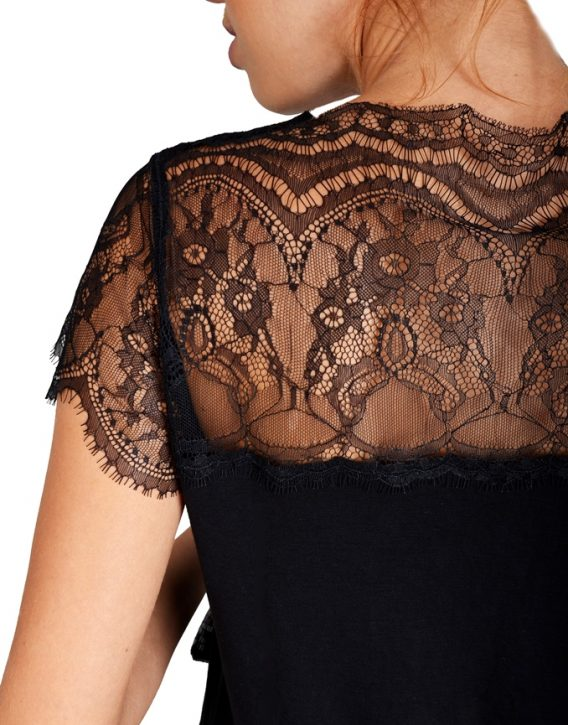 Black Lace Panel T-Shirt