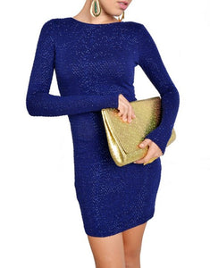 Deep Blue Long Sleeve Bodycon Dress With Beads & Sequins