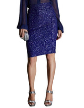 Deep Blue Sequined Pencil Skirt