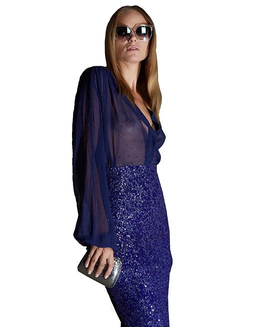 Deep Blue Sequined Silk Blouse