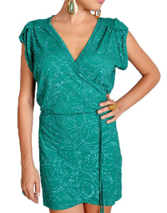 Emerald Green Sequin Mini Wrap Dress