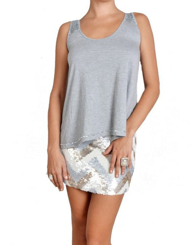 Flared Light Grey Sequin Detail Top