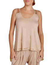 Flared Nude Sequin Detail Top