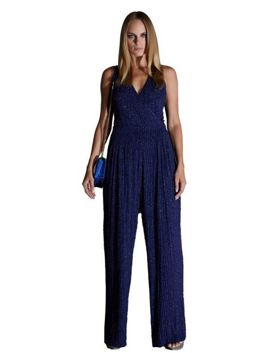 Full-Length Deep Blue Backless Sequin Jumpsuit