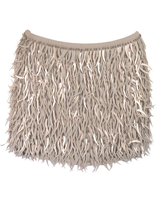 Gold Sequin Fringe Mini Skirt