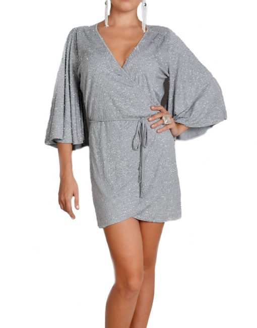 Light Grey Kimono Wrap Dress