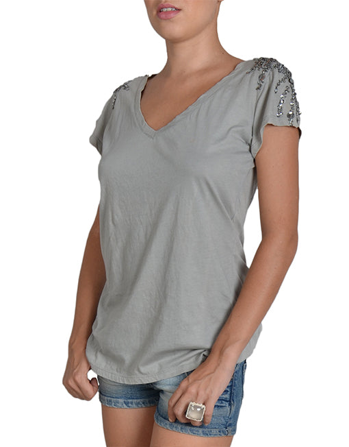 Light Grey V-Neck Sequin T-Shirt