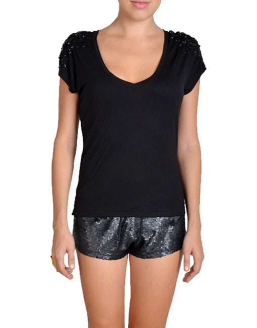 Loose Fit Black Sequin Shorts