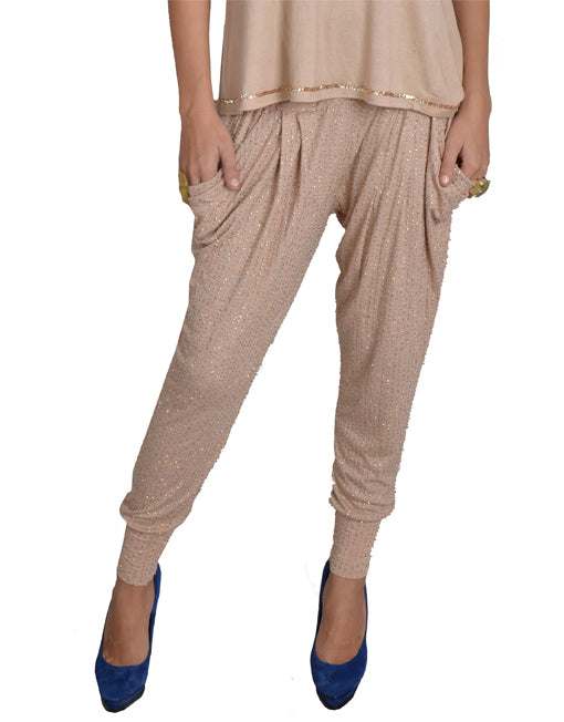 Nude Sequin Harem Pants