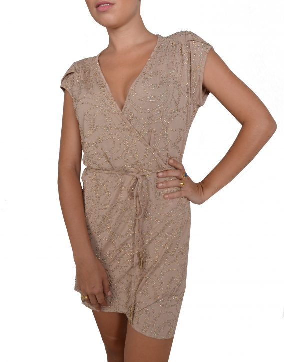 Nude Sequin Mini Wrap Dress