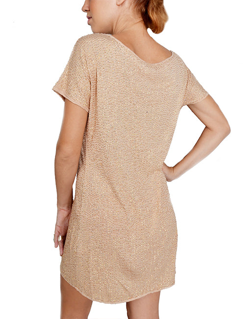Nude Sequin Shift Dress
