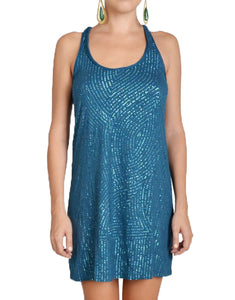 Royal Blue Flared Sequin Racerback Dress