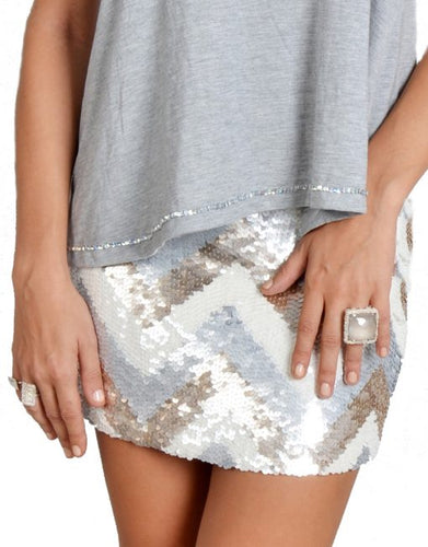 Sequin Mini Skirt With Zig Zag Stripes