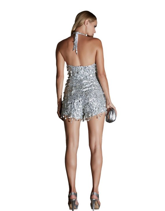 Short Silver Sequin Jumpsuit
