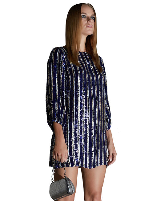 Three-Quarter Sleeve Sequin Shift Dress