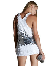 White And Silver Racerback Sequin Mini Dress