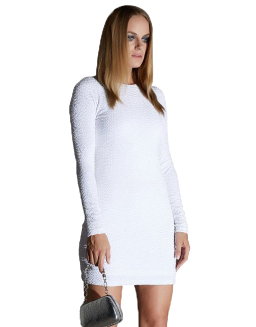 White Long Sleeve Bodycon Dress With Beads & Sequins