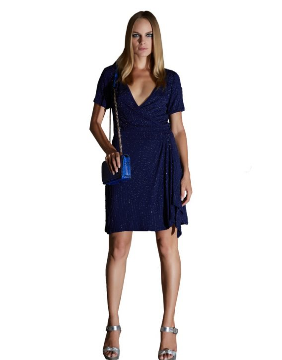 Deep Blue Sequin Wrap Dress