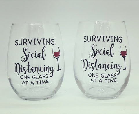 Social distance wine glass