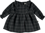 Checkered Dress with Removable Cream Sherpa Collar