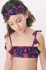 Violet Floral swimsuit with frills – Coco