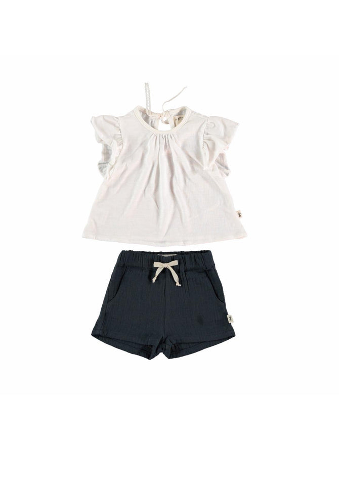 White & Navy Shorts Set