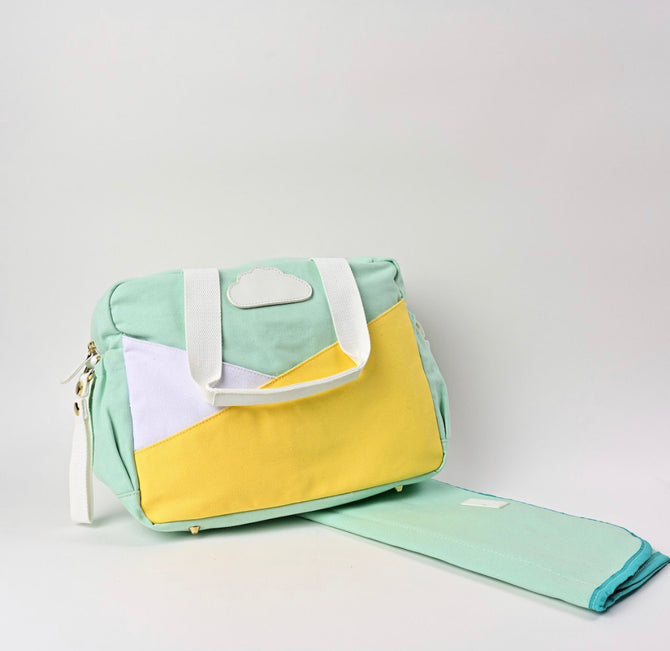 Green & Yellow Clouds- Diaper Bag