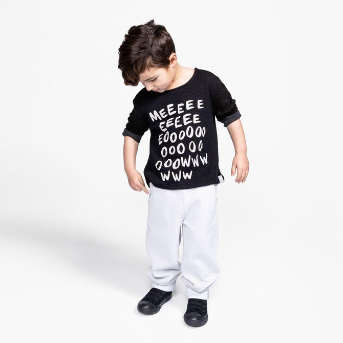 Kids Long Sleeve T-Shirt with MEOW Print Set