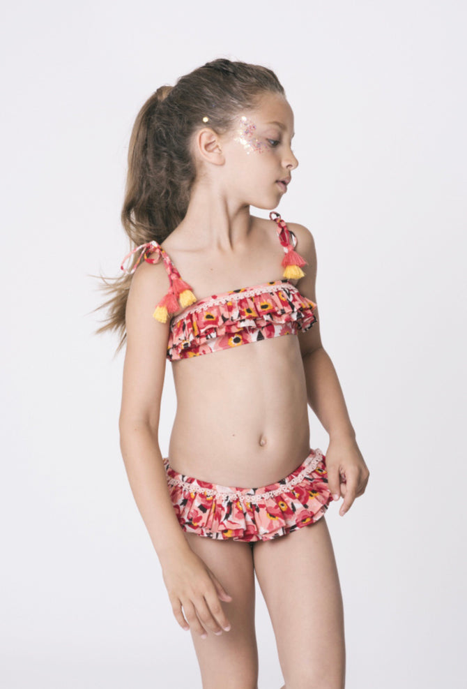 Peach Floral swimsuit with frills – Coco