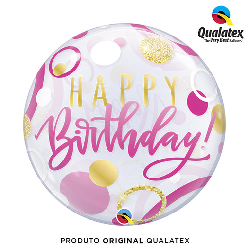 Balão Bolha Estampado 56cm Happy Birthday Rosa - Qualatex