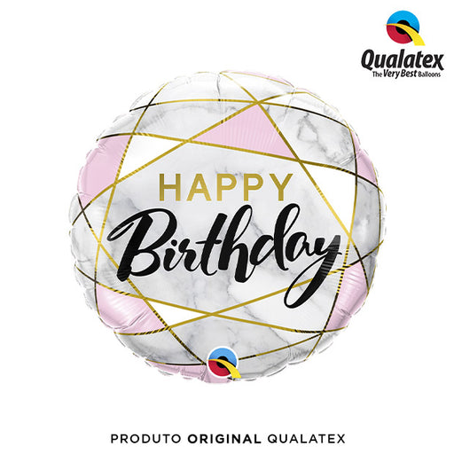 Balão Metalizado Happy Birthday Diamante Branco e Rosa 45cm - Qualatex