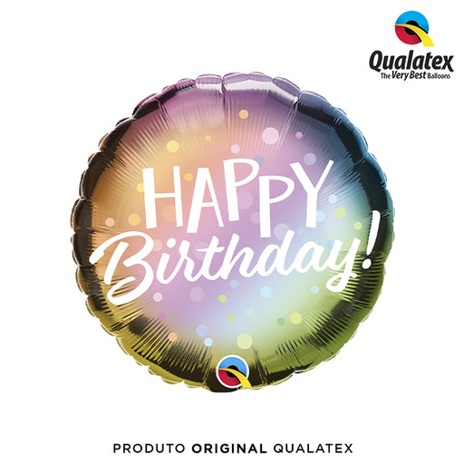 Balão Metalizado Happy Birthday Candy Colors 45cm - Qualatex