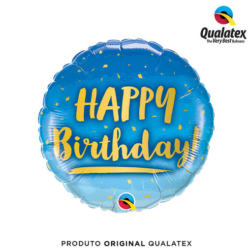 Balão Metalizado Happy Birthday Azul Degradê 45cm - Qualatex