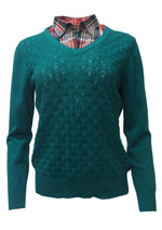 POINTELLE SWEATER WITH CHECK SHIRT COLLAR
